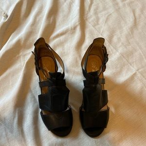 Seychelles Strappy Black Leather Heeled Sandals